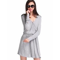 Tsuki Moda Asiatica: Vestido Corto Casual Gris Manga Larga