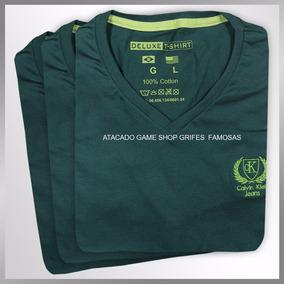 Camiseta Masculina Gola V / Redonda Varias Cores Malha Fria