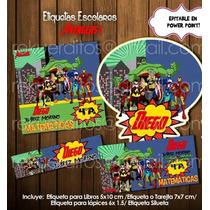 Kit Imprimible Etiquetas Escolares Vengadores Mod1 Promo 2x1