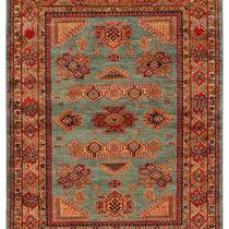 Alfombra / Tapete Handmade Afghan Kazak Rug, Slate, 410 X6