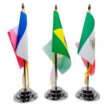 Bandeira De Mesa Luxo Base 30 Cm Pvc Cromado