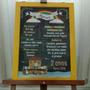 Chalkboard Personalzado Com Moldura E Cavalete Em Madeira