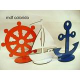 1barco,1ancora,1timão De Mesa 30 Cm Mdf Colorido Marinheiro