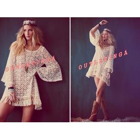 Mini Vestido Bata Hippie Gipsy Renda Importada No Brasil