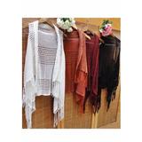 Colete Kimono De Tricot Tricô Crochê Em Franjas Inverno