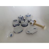 Kit P/ Banheiro Em Porcelana Jogo De 8pçs Ponta De Estoque