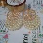 Hermosos Zarcillos Alambre De Oro Y Perlas