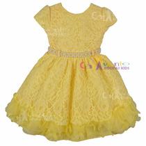 Vestido Festa Infantil Renda Magali Com Tiara De Binde