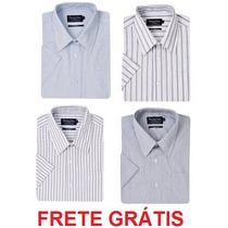 Kit Com 4 Camisas Manga Curta 2 Lisas E 2 Listradas