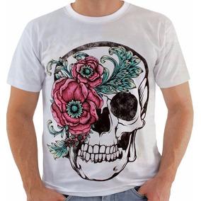 Linda Regata Branca Com Caveira Colorida - Camisetas e Blusas Manga ... 708cdb60abc