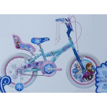 Bicicleta Disney Frozen R16 Con Portamuñecas Niñas 3-6 Años