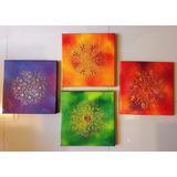 Cuadros Decorativos Con Mandalas En Relieve,en Oleo, 30x30cm
