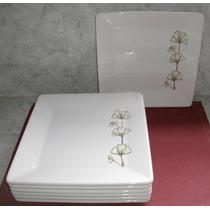 Platos Cuadrados Grandes X 6 Unidades Con Flor Verde Ceramic