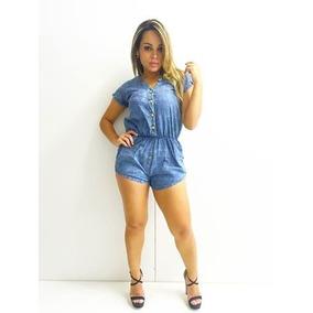 Macaquinho Jeans Feminino Tecido Mole Jardineira Barata