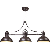 Colgante Estilo Industrial Metal Vidrio Chocolate 3 Luces Cl