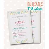 Invitación De Quince - Tarjeta De 15 Para Imprimir Flores