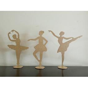Kit 21 Bailarinas 25cm + 2 De 50cm Em Mdf Cru Festas