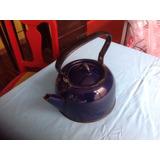 Tetera Vintage Azul De Fierro Enlozado