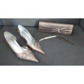 Sapato E Bolsa De Festa Durval - Tam 35 - Cor Ouro Velho