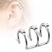Ear Cuff Falso De Acero Plata Conciencia Triple Estrella