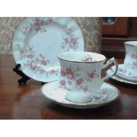 Trio De Te En Porcelana Inglesa Paragon Victoriana Rose