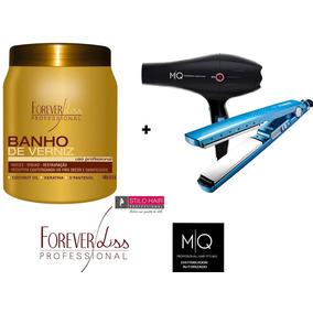 Banho De Verniz+prancha Alisadora Nano Titanium E Secador Mq