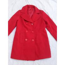 Tapado Sacon Paño Rojo Mujer Nuevo Forrado Talle M