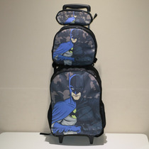Kit Mochila Bolsa Infantil Escolar Menino Rodinha Batman