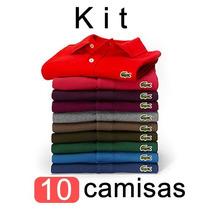 Kit 10 Camisas Polo Lacoste Camisetas Masculinas Atacado