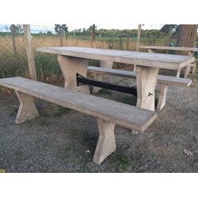 mesa y bancos de cemento liso camping club quintas pers