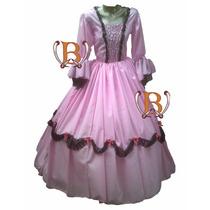 Disfraz Infantil Vestido Patrio Dama Antigua Colonial Premiu