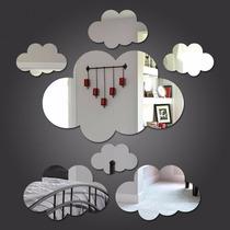 Kit Com 6 Espelhos Decorativos Casa Quarto Sala Parede Nuvem