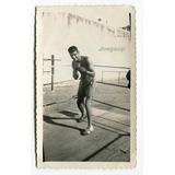 Antigua Fotografía Boxeador Entrenamiento En El Ring