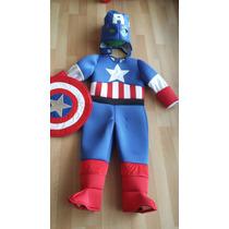 Disfraz Traje Estilo Capitan America Avengers Niños De Lujo
