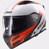 Casco Modular Ls2 F324 Rapid White Red Rebatible Devotobikes