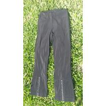 Pantalones Semi Brillosos Con Strass En La Parte Inferior