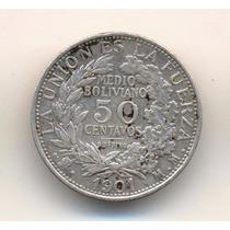Moneda Bolivia 50 Centavos Medio Boliviano 1901 Plata