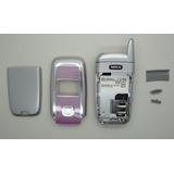 Carcaça Completa Celular Nokia 6101 Flip Prata / Rosa