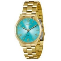 Relógio Lince Dourado Com Fundo Azul Analógico Lrg4301l A2kx