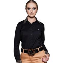 Camisa Feminina Preta Social Feminina Principessa Veronika
