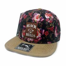 Boné Aba Reta Camurçada Black Bulls Floral Lançamento A-90