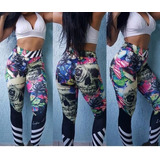Kit 3 Calças Legging Fitness Academia 3d Personagens