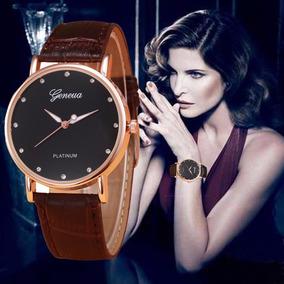 Relógio Feminino Geneva Bracelete Pulseira Couro Sintético