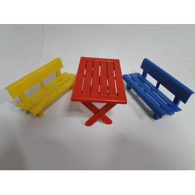 Parque Mesa E Bancos Para Boneco Lego Playmobil