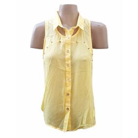 Camisa Sin Mangas De Gasa Con Tachas