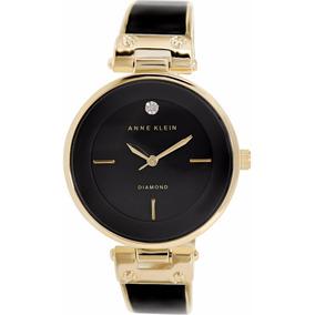 Reloj Anne Klein Ak1414bkgb Dama Negro Diamond Envío Gratis*