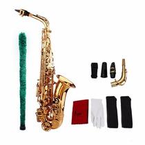 Saxofon Alto Eb Dorado Nuevo Con Estuche Y Accesorios