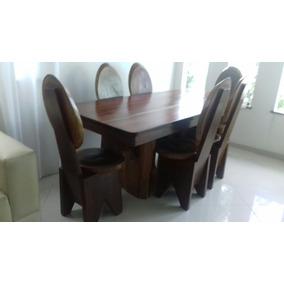 Conjunto De Mesa Com 6 Cadeiras Em Madeira Macica Cumaru
