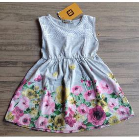 Vestido Infantil Em Malha Tholokka Estampa Flores Mescla