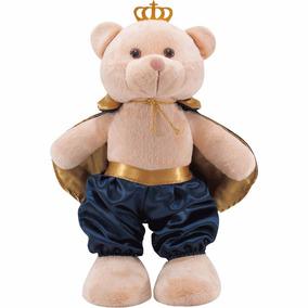 Urso De Pelúcia Príncipe Com Coroa E Capa Azul 36cm Em Pé